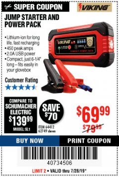 Harbor Freight Coupon LITHIUM ION JUMP STARTER AND POWER PACK Lot No. 62749/64412 Expired: 7/28/19 - $69.99