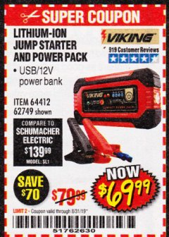 Harbor Freight Coupon LITHIUM ION JUMP STARTER AND POWER PACK Lot No. 62749/64412 Expired: 8/31/19 - $69.99