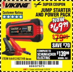 Harbor Freight Coupon LITHIUM ION JUMP STARTER AND POWER PACK Lot No. 62749/64412 Valid Thru: 11/22/19 - $69.99