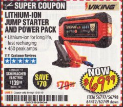 Harbor Freight Coupon LITHIUM ION JUMP STARTER AND POWER PACK Lot No. 62749/64412 Valid Thru: 10/31/19 - $69.99