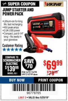 Harbor Freight Coupon LITHIUM ION JUMP STARTER AND POWER PACK Lot No. 62749/64412 Valid: 9/17/19 9/29/19 - $69.99