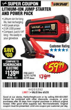 Harbor Freight Coupon LITHIUM ION JUMP STARTER AND POWER PACK Lot No. 62749/64412/56797/56798 EXPIRES: 6/30/20 - $59.99