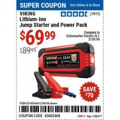 Harbor Freight Coupon LITHIUM ION JUMP STARTER AND POWER PACK Lot No. 62749/64412/56797/56798 Valid Thru: 1/28/21 - $69.99