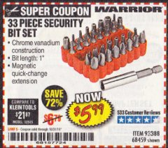 Harbor Freight Coupon 33 PIECE SECURITY BIT SET Lot No. 68459 Expired: 10/31/19 - $5.99