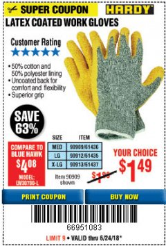 Harbor Freight Coupon HARDY LATEX COATED WORK GLOVES Lot No. 90909/61436/90912/61435/90913/61437 Expired: 6/24/18 - $1.49