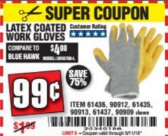 Harbor Freight Coupon HARDY LATEX COATED WORK GLOVES Lot No. 90909/61436/90912/61435/90913/61437 Expired: 9/11/18 - $0.99