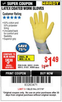 Harbor Freight Coupon HARDY LATEX COATED WORK GLOVES Lot No. 90909/61436/90912/61435/90913/61437 Expired: 3/17/19 - $1.49