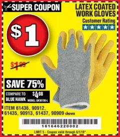 Harbor Freight Coupon HARDY LATEX COATED WORK GLOVES Lot No. 90909/61436/90912/61435/90913/61437 EXPIRES: 6/1/19 - $1