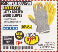 Harbor Freight Coupon HARDY LATEX COATED WORK GLOVES Lot No. 90909/61436/90912/61435/90913/61437 Expired: 10/31/19 - $1.49