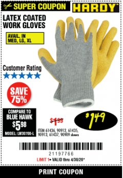 Harbor Freight Coupon HARDY LATEX COATED WORK GLOVES Lot No. 90909/61436/90912/61435/90913/61437 EXPIRES: 6/30/20 - $1.49