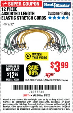 Harbor Freight Coupon 12 PIECE ASSORTED LENGTH ELASTIC TIE DOWNS Lot No. 60534/46682/61938 Expired: 3/8/20 - $3.99