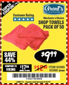 Harbor Freight Coupon MECHANICS CHOICE SHOP TOWELS PACK OF 50 Lot No. 63365/63360 Expired: 5/19/18 - $9.99