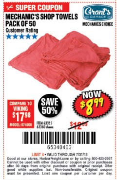 Harbor Freight Coupon MECHANICS CHOICE SHOP TOWELS PACK OF 50 Lot No. 63365/63360 Expired: 7/31/18 - $8.99