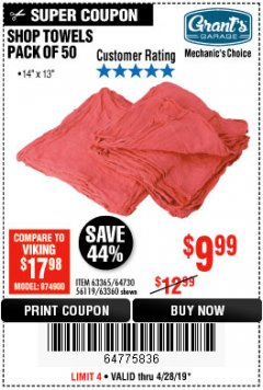 Harbor Freight Coupon MECHANICS CHOICE SHOP TOWELS PACK OF 50 Lot No. 63365/63360 Valid Thru: 4/28/19 - $9.99
