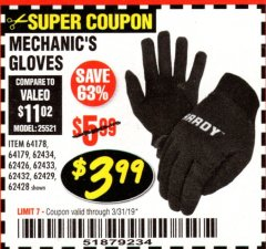 Harbor Freight Coupon MECHANIC'S GLOVES2 Lot No. 64181/64180/64539/62433/64540/62424/64541/62425 Expired: 3/31/19 - $3.99