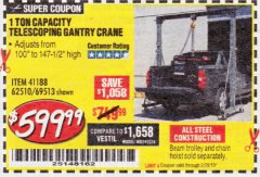 Harbor Freight Coupon 1 TON CAPACITY TELESCOPING GANTRY CRANE Lot No. 41188/69513/62510 Expired: 2/28/19 - $599.99