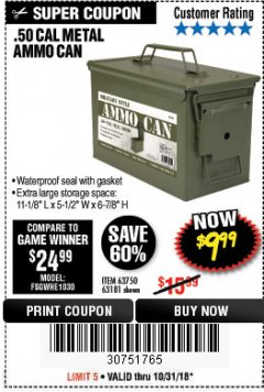 Harbor Freight Coupon .50 CAL METAL AMMO CAN Lot No. 63181/63750 Expired: 10/31/18 - $9.99