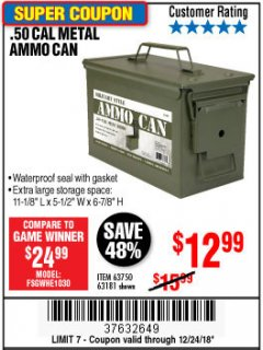 Harbor Freight Coupon .50 CAL METAL AMMO CAN Lot No. 63181/63750 Expired: 12/24/18 - $12.99