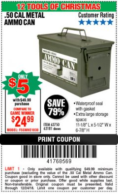 Harbor Freight Coupon .50 CAL METAL AMMO CAN Lot No. 63181/63750 Expired: 12/24/18 - $5