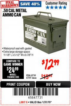 Harbor Freight Coupon .50 CAL METAL AMMO CAN Lot No. 63181/63750 Expired: 1/31/19 - $12.99