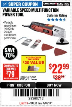 Harbor Freight Coupon VARIABLE SPEED MULTIFUNCTION POWER TOOL Lot No. 63111/63113/62867/67537 Expired: 6/16/19 - $22.99