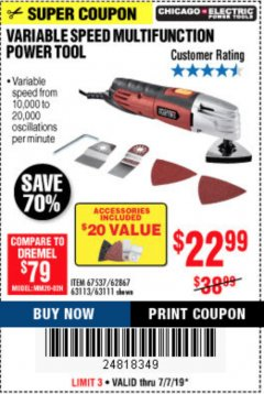 Harbor Freight Coupon VARIABLE SPEED MULTIFUNCTION POWER TOOL Lot No. 63111/63113/62867/67537 Expired: 7/7/19 - $22.99