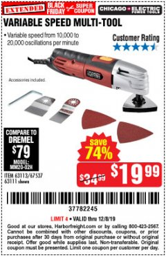 Harbor Freight Coupon VARIABLE SPEED MULTIFUNCTION POWER TOOL Lot No. 63111/63113/62867/67537 Expired: 12/8/19 - $19.99
