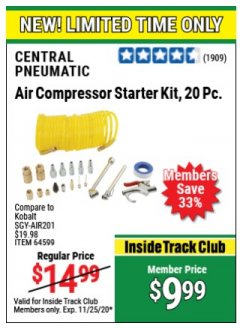 Harbor Freight ITC Coupon 20 PIECE AIR COMPRESSOR STARTER KIT Lot No. 62688/57051/64599 Expired: 11/25/20 - $9.99