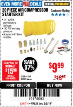 Harbor Freight Coupon 20 PIECE AIR COMPRESSOR STARTER KIT Lot No. 62688/57051/64599 Expired: 5/5/19 - $9.99