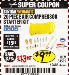 Harbor Freight Coupon 20 PIECE AIR COMPRESSOR STARTER KIT Lot No. 62688/57051/64599 Expired: 6/30/19 - $9.99