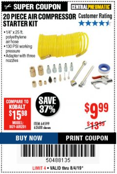 Harbor Freight Coupon 20 PIECE AIR COMPRESSOR STARTER KIT Lot No. 62688/57051/64599 Expired: 8/4/19 - $9.99