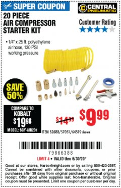 Harbor Freight Coupon 20 PIECE AIR COMPRESSOR STARTER KIT Lot No. 62688/57051/64599 Expired: 6/30/20 - $9.99