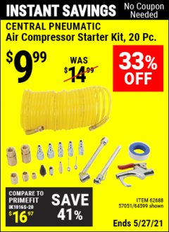 Harbor Freight Coupon 20 PIECE AIR COMPRESSOR STARTER KIT Lot No. 62688/57051/64599 Expired: 4/29/21 - $9.99