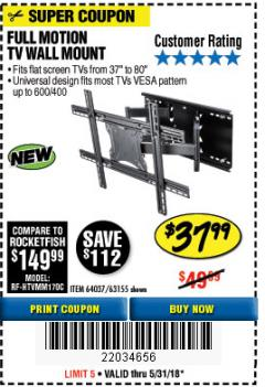 Harbor Freight Coupon FULL MOTION TV WALL MOUNT  Lot No. 64037/63155 Expired: 5/31/18 - $37.99