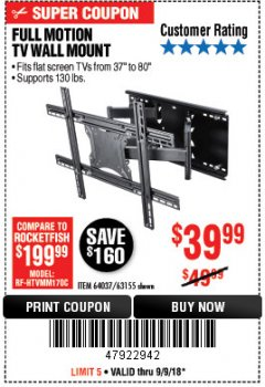 Harbor Freight Coupon FULL MOTION TV WALL MOUNT  Lot No. 64037/63155 Expired: 9/9/18 - $39.99