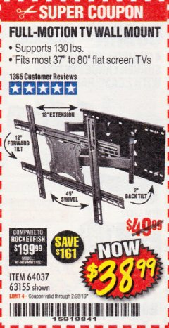 Harbor Freight Coupon FULL MOTION TV WALL MOUNT  Lot No. 64037/63155 Expired: 2/28/19 - $38.99