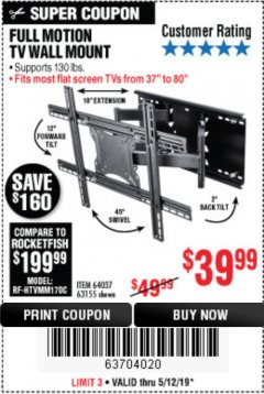 Harbor Freight Coupon FULL MOTION TV WALL MOUNT  Lot No. 64037/63155 Expired: 5/12/19 - $39.99