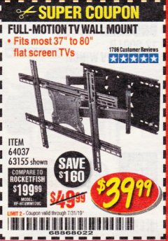 Harbor Freight Coupon FULL MOTION TV WALL MOUNT  Lot No. 64037/63155 Expired: 7/31/19 - $39.99