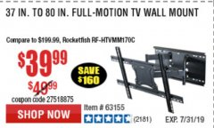 Harbor Freight Coupon FULL MOTION TV WALL MOUNT  Lot No. 64037/63155 Expired: 7/7/19 - $39.99