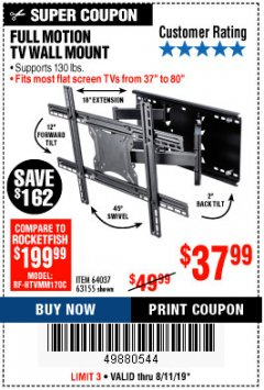 Harbor Freight Coupon FULL MOTION TV WALL MOUNT  Lot No. 64037/63155 Expired: 8/11/19 - $37.99