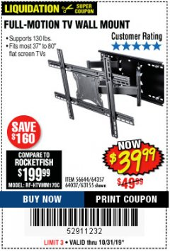 Harbor Freight Coupon FULL MOTION TV WALL MOUNT  Lot No. 64037/63155 Expired: 10/31/19 - $39.99