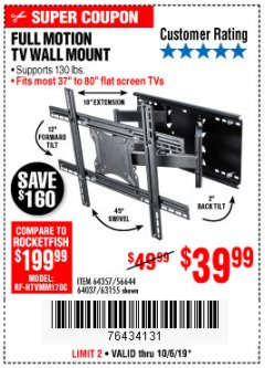 Harbor Freight Coupon FULL MOTION TV WALL MOUNT  Lot No. 64037/63155 Expired: 10/6/19 - $39.99