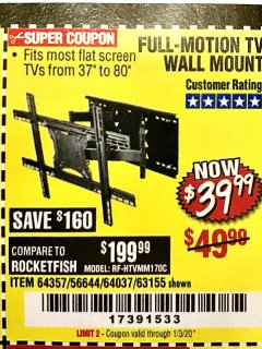 Harbor Freight Coupon FULL MOTION TV WALL MOUNT  Lot No. 64037/63155 Valid Thru: 1/3/20 - $39.99
