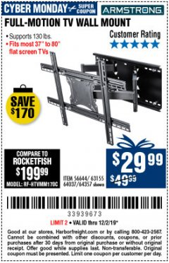 Harbor Freight Coupon FULL MOTION TV WALL MOUNT  Lot No. 64037/63155 Expired: 12/2/19 - $29.99