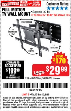 Harbor Freight Coupon FULL MOTION TV WALL MOUNT  Lot No. 64037/63155 Valid Thru: 12/8/19 - $29.99