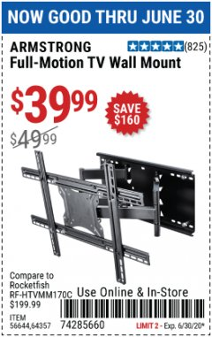 Harbor Freight Coupon FULL MOTION TV WALL MOUNT  Lot No. 64037/63155 EXPIRES: 6/30/20 - $39.99