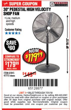 "Harbor Freight Coupon 30"" HIGH VELOCITY PEDESTAL SHOP FAN Lot No. 61845/47755 Expired: 7/31/18 - $119.99"