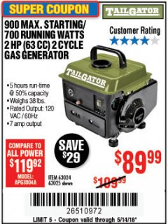 Harbor Freight Coupon 900 PEAK / 700 RUNNING WATTS, 2HP (63CC) 2 CYCLE GAS GENERATOR EPA/CARB Lot No. 63024/63025 Expired: 5/14/18 - $89.99