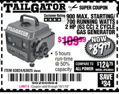 Harbor Freight Coupon 900 PEAK / 700 RUNNING WATTS, 2HP (63CC) 2 CYCLE GAS GENERATOR EPA/CARB Lot No. 63024/63025 Expired: 10/1/18 - $89.99