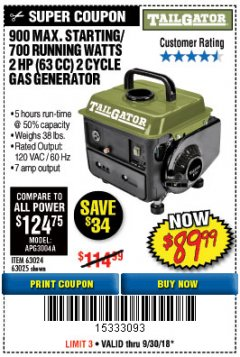 Harbor Freight Coupon 900 PEAK / 700 RUNNING WATTS, 2HP (63CC) 2 CYCLE GAS GENERATOR EPA/CARB Lot No. 63024/63025 Expired: 9/30/18 - $89.99